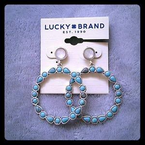 Lucky Brand Blue & White Stone Hoop Earrings